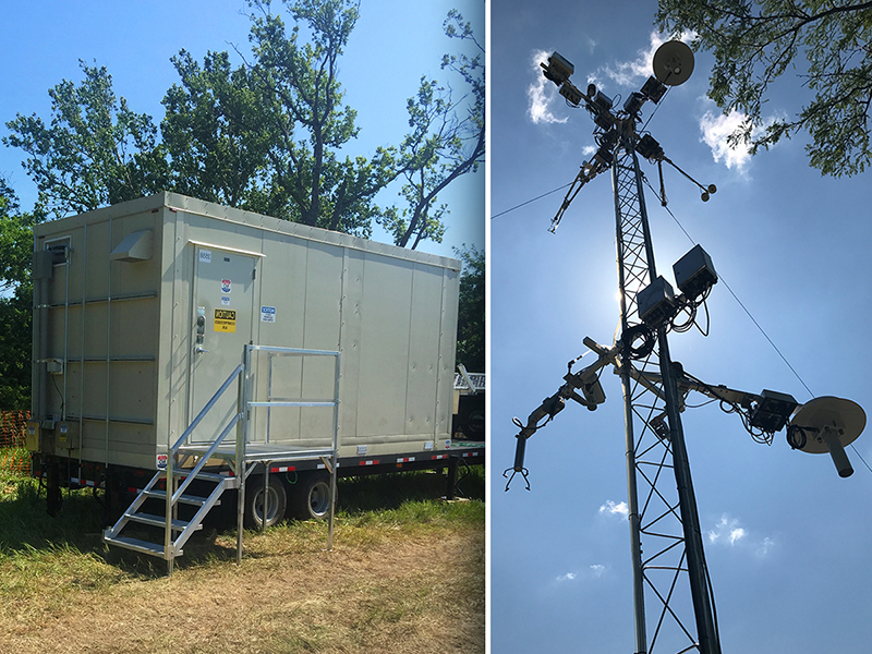 Pair of photos showing a NEON Mobile Deployment Platform instrument hut (left) and an instrumented tower (right)