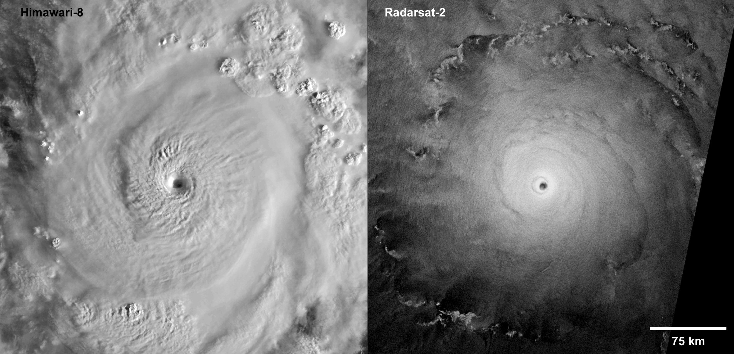 Two satellite images of Super Typhoon Goni over the Pacific Ocean taken at almost the same time on 30 October 2020