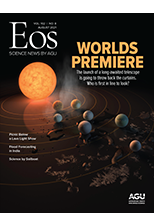 cover of August 2021 issue of Eos