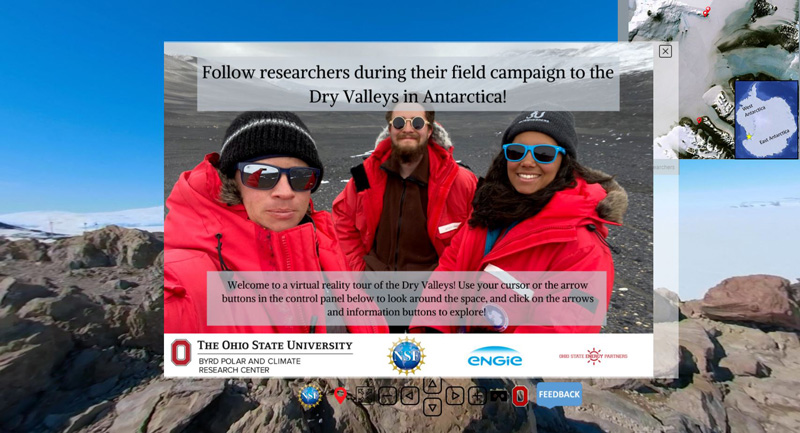 A photo of three scientists smiling at the camera in Antarctica in the center of a screenshot from a virtual field tour with introductory graphics and directional buttons