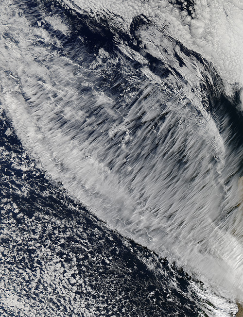 Satellite image of clouds off the coast of Chile