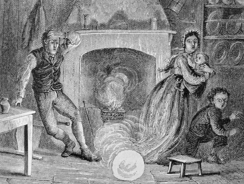 An illustration of three people jumping away from ball lightning coming out of a chimney
