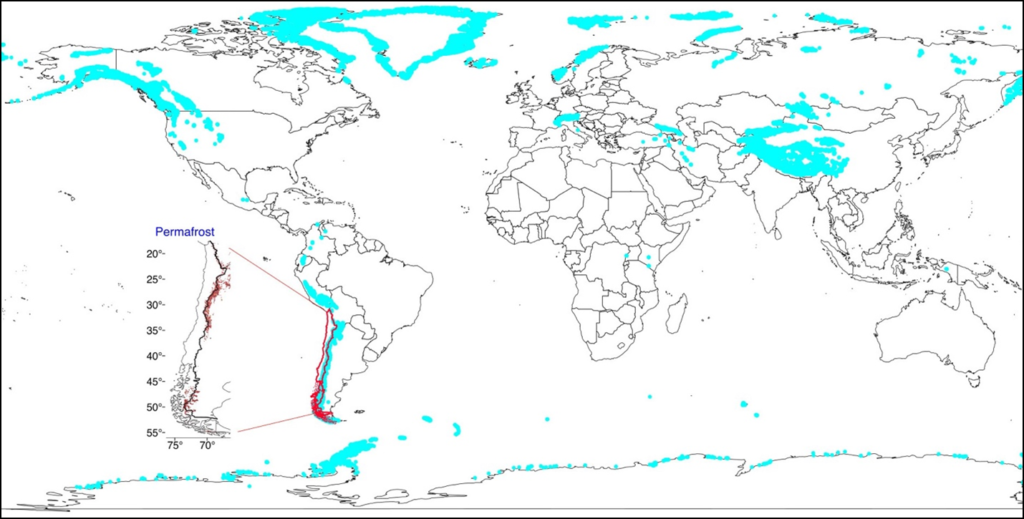Map of glaciers around the world with inset of Chile showing potential locations of permafrost