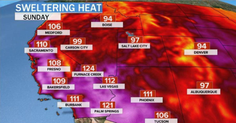 Image of the Pacific Northwest's heat forecast on 25 June 2021