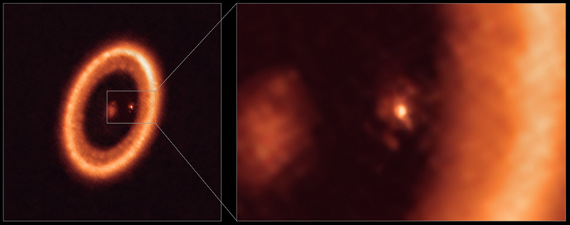 Shown are infrared images of the PDS 70 system (left) and a zoomed-in section of the circumstellar disk (right). The full image shows a single ring of orange material, a dull orange glow at the center where the star is, and a bright white-orange dot just inside the ring at 2 o'clock that is PDS 70 c. The right-hand image zooms in on PDS 70 c and shows a diffuse glow around the central bright spot, which is the circumplanetary disk. The inside edge of the circumstellar ring takes up most of the right-hand side of the zoomed-in image.