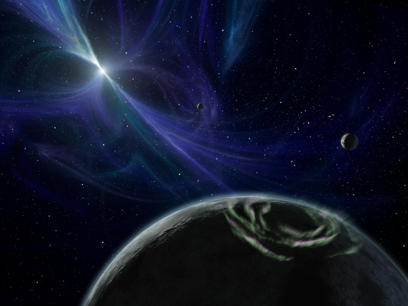 Illustration of a polar auroral ring on a pulsar planet, with the pulsar surrounded by glowing filaments in the background and the system's two other planets in view.
