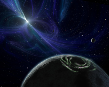 A brilliant aurora encircles the pole of one of the planets orbiting the pulsar PSR B1257+12.