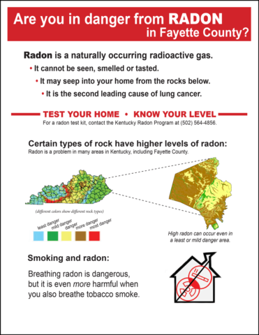 Flyer explaining what radon is and how to determine risk in Fayette County, Kentucky