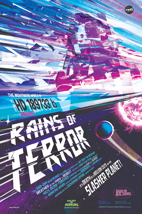 """Movie poster–style illustration of the """"Rains of Terror"""" on exoplanet HD 189733 b"""