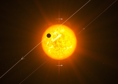 The retrograde orbit of WASP-8 b is depicted with its sun in this illustration.