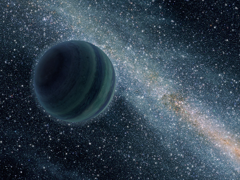A rogue planet glides through the galaxy alone in this artist's impression.