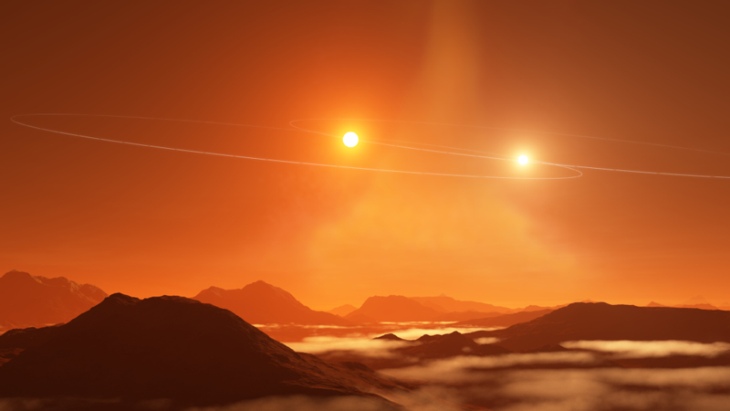 Illustration of twin suns setting on a Tatooine-like world, which orbits both members of a binary star