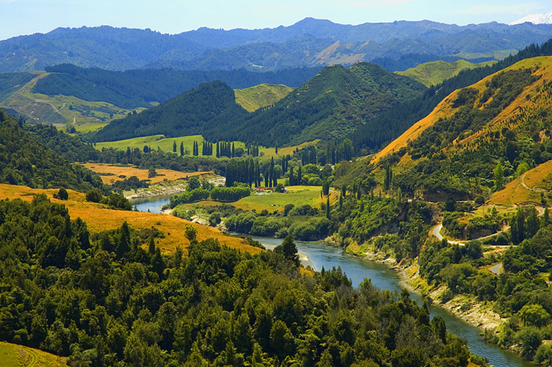 New Zealand's Whanganui River winds through a bucolic valley.