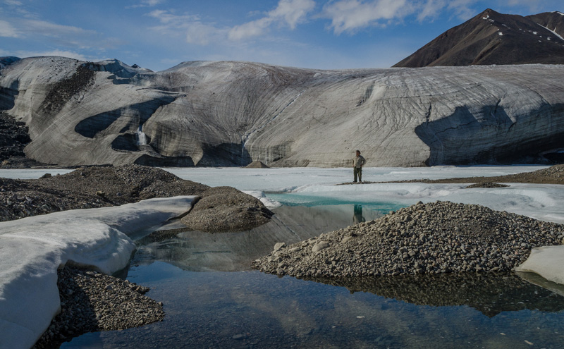 Photograph of the terminus of Fountain Glacier on Bylot Island in the Canadian Arctic