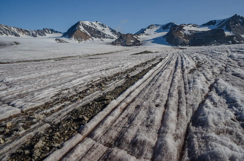 Photograph of the corrugated surface of the valley glacier Austre Brøggerbreen in Svalbard, Norway, in 2013