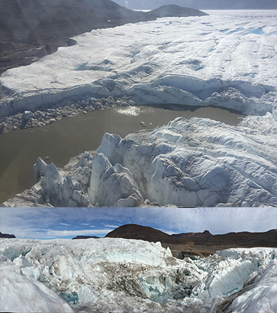 Aerial view of a lake atop a glacier (top); view of a deep glacial chasm from the top of the glacier
