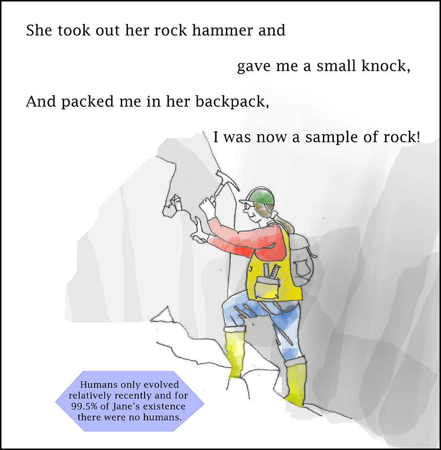 A smiling geologist with long brown hair tied in a ponytail under a green ball cap sports a bright yellow vest and boots, red shirt, and blue pants. She uses a rock hammer to collect a sample from a gray outcrop.