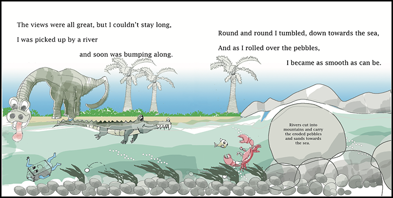 Crab, fish, and crocodile swim in a river, while a green dinosaur laps water at the river bank. Three palm trees and low mountains form the background.