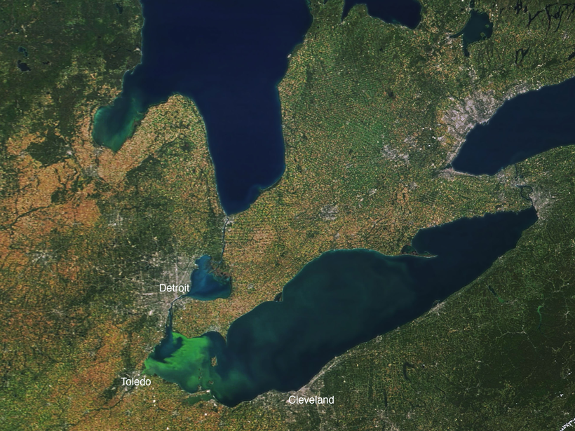 A satellite view of Lake Erie, with bright green algae in the western portion near Toledo, Ohio