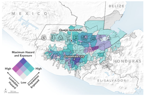 Map showing results from a landslide hazard assessment model for different regions of Guatemala during Tropical Storm Eta on 5 November 2020