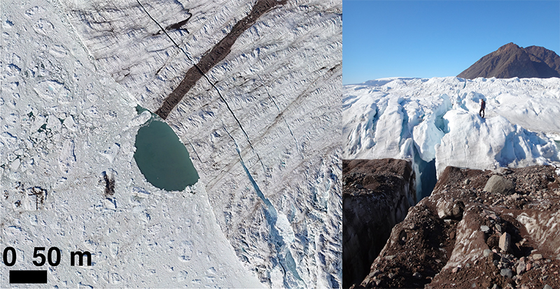 Aerial view showing a meltwater discharge site along the front where a glacier meets the ocean (left); a scientist in the distance stands near a large crevasse atop a glacier (right)
