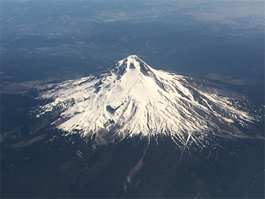 Aerial view of snowcapped Mount Hood
