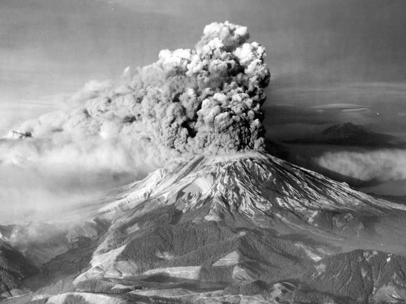 Black and white image of Mount St. Helens erupting