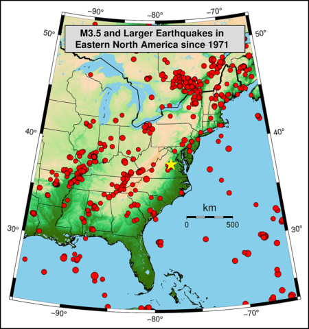 Map showing epicenters of earthquakes of magnitude 3.5 or greater recorded since 1971.
