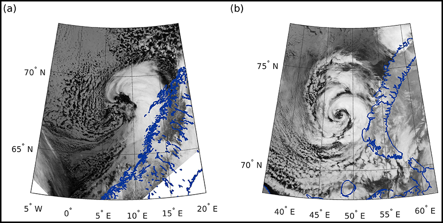 Side by side satellite images showing a comma-shaped polar low (left) and a spiraliform polar low (right)