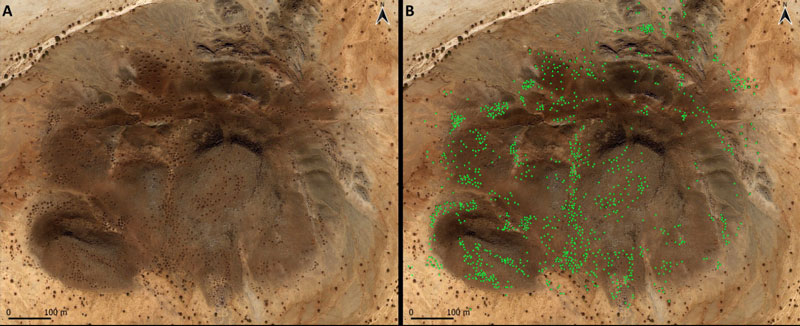 Satellite image of sites of qubbas in a rocky outcrop.