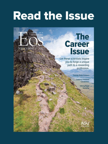 """September 2021 cover of Eos magazine with the text """"Read the Issue"""""""