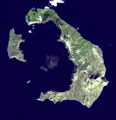 A satellite of Santorini showing the five islands.