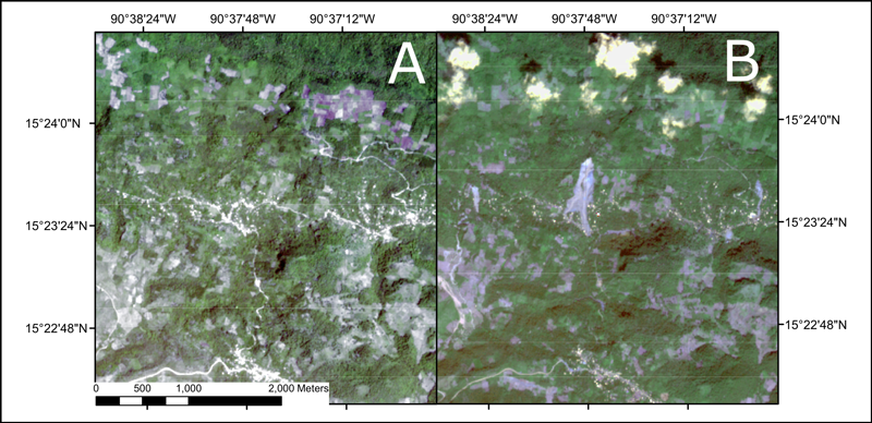 Side-by-side satellite photos of the region around Queja, Guatemala, before and after Tropical Storm Eta highlighting a major landslide event