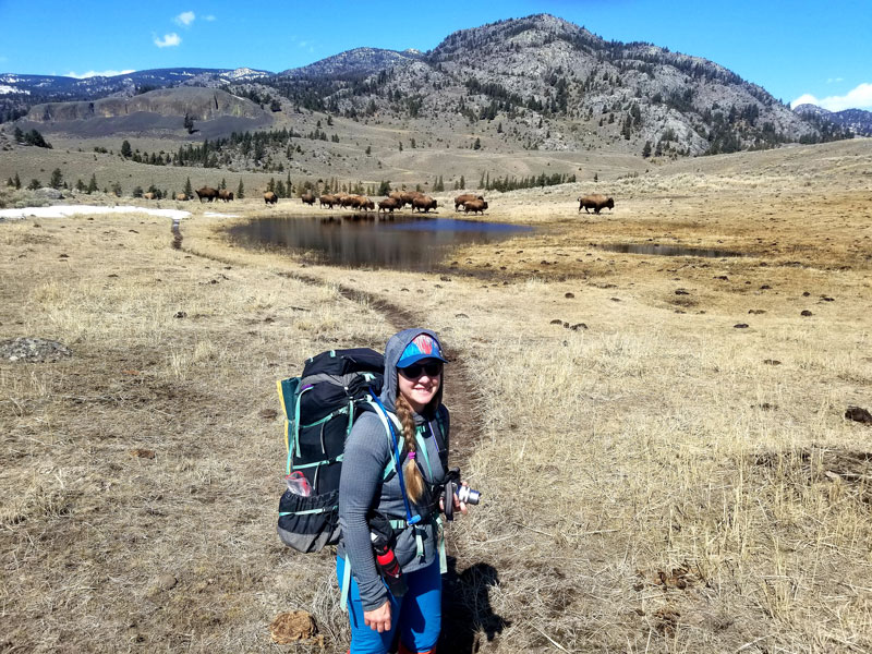 A woman stands in front of a small lake with a herd of bison passing in the background.