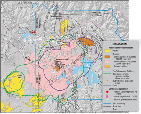 A map of Yellowstone National Park showing the overlapping calderas, volcanic eruptions, earthquakes, and geyser basins.