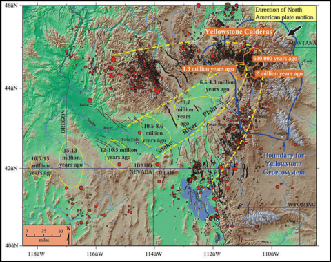 A map showing a time-stamped series of calderas across southern Idaho into Wyoming.
