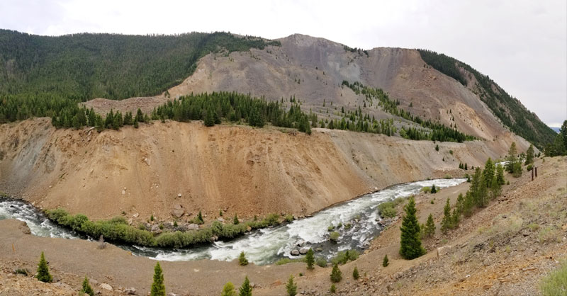 A denuded hillside remains from the landslide triggered by the Madison River Canyon Earthquake in 1959.