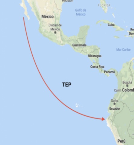 The eastern tropical Pacific is a region that stretches from the southern tip of the Baja California Peninsula to northern Peru.
