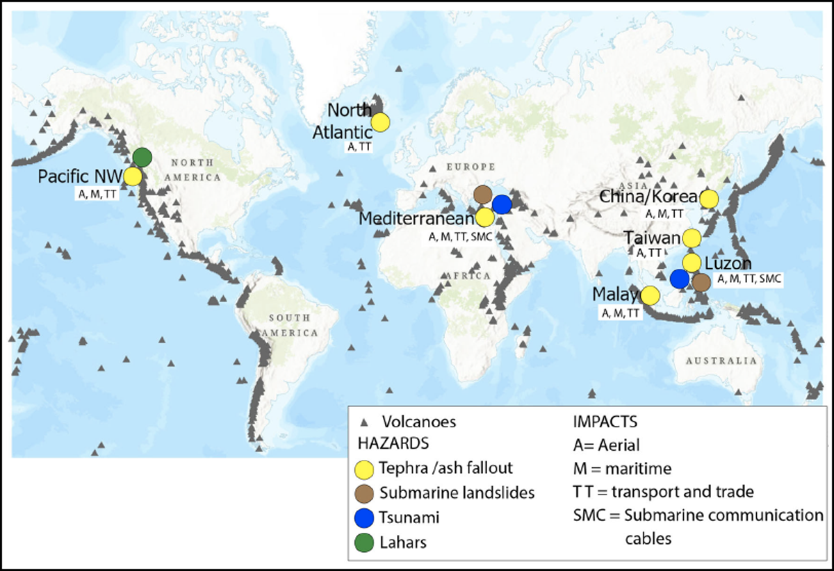 A map of the globe, where sites of critical vulnerabilities are marked with circles